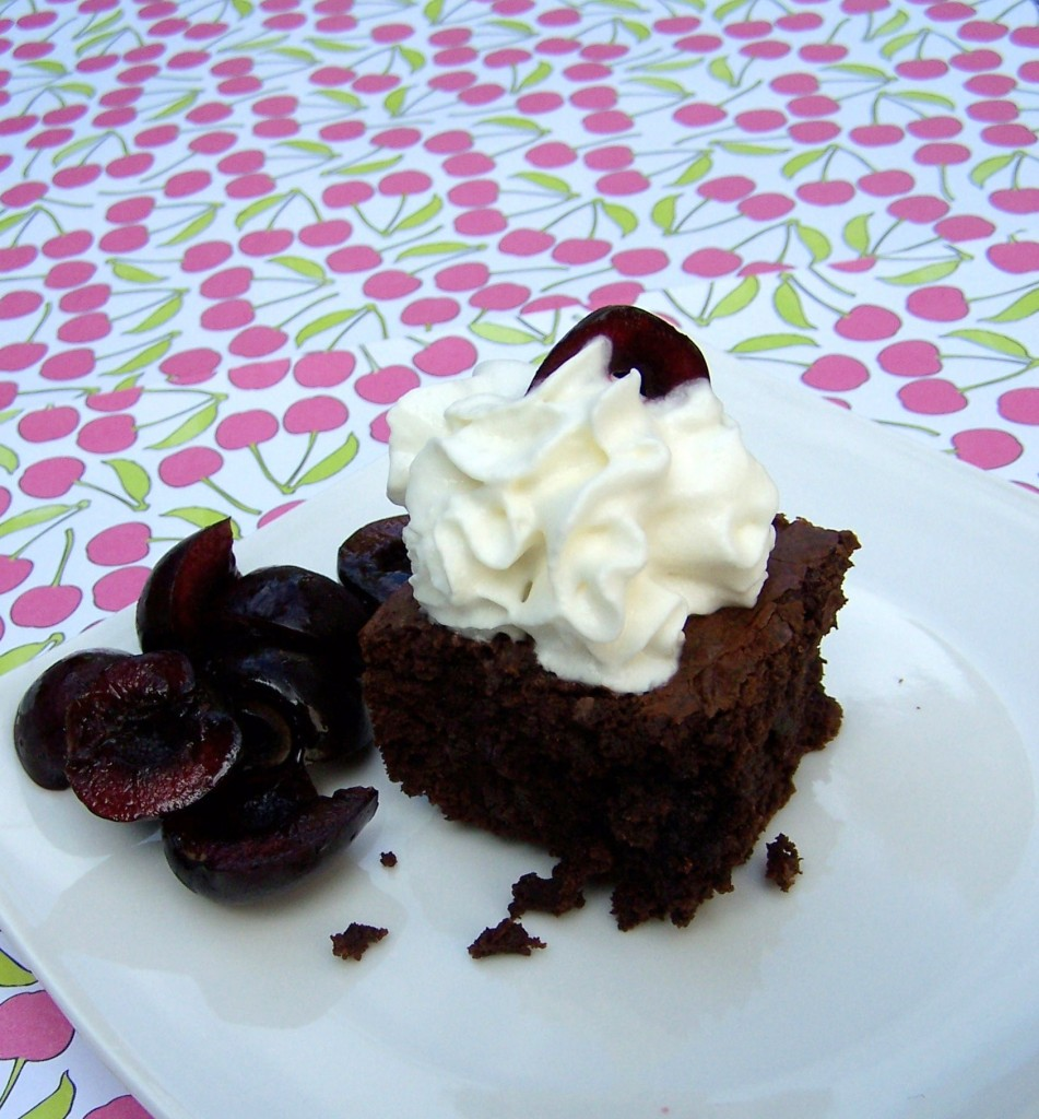 Roasted Cherry Dark Chocolate Brownies
