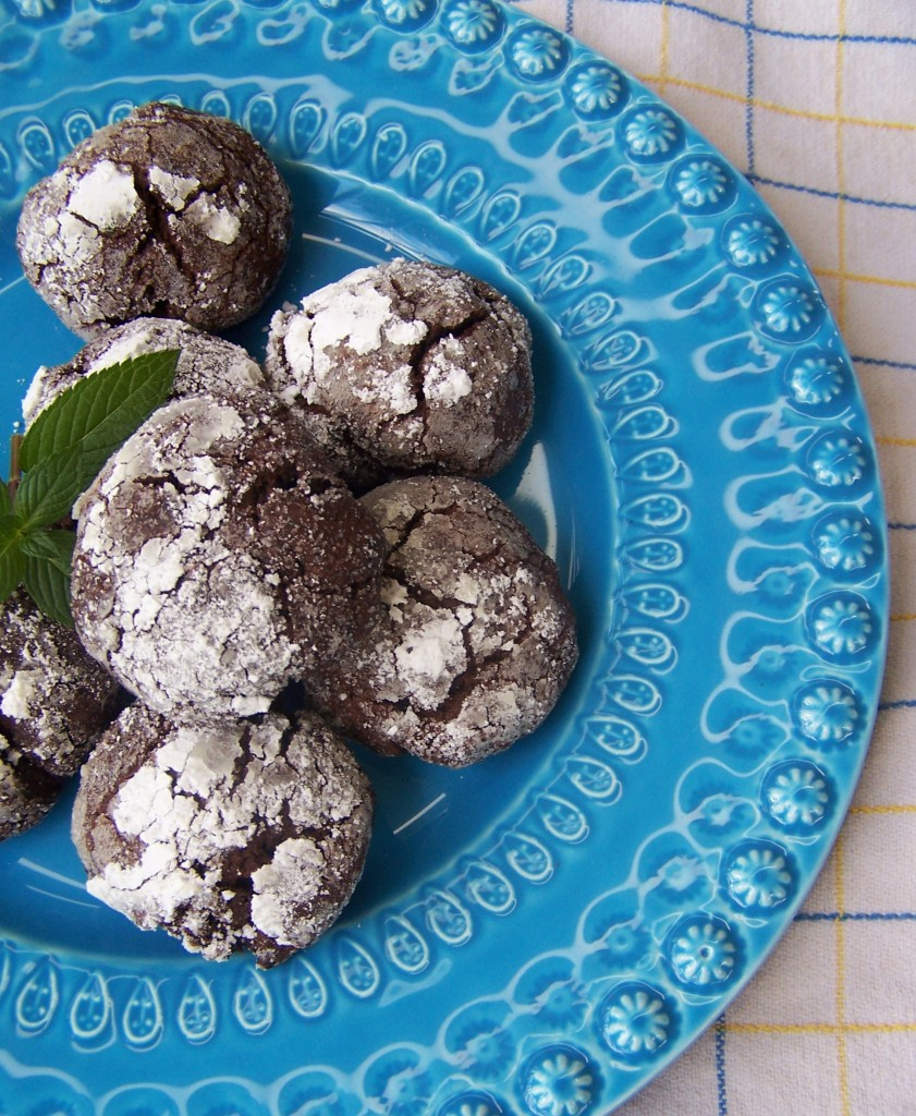 Dark Chocolate Mint Crackle Cookies