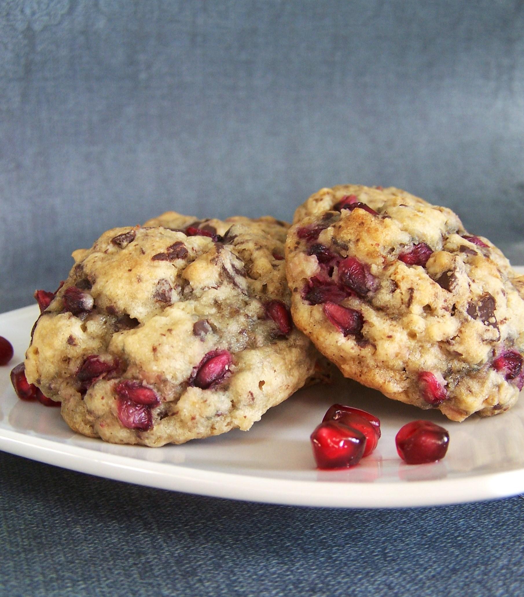 Pomegranate Chocolate Chunk Oatmeal Cookies