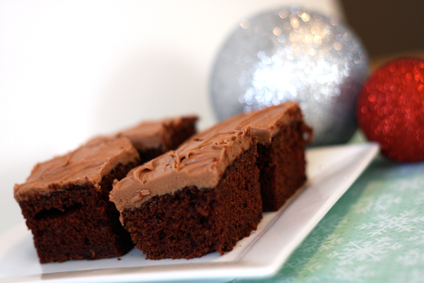 Seriously perfect church-cookbook brownies with decadent fudge frosting...always a hit.