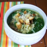 Spinach & Sausage Soup with Homemade Croutons