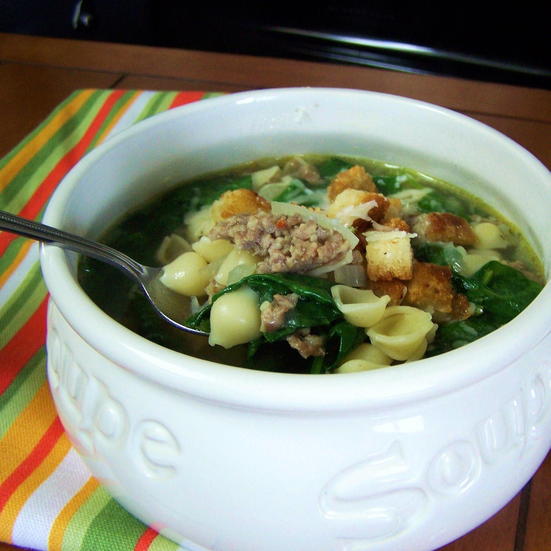 Spinach Sausage Soup With Homemade Croutons