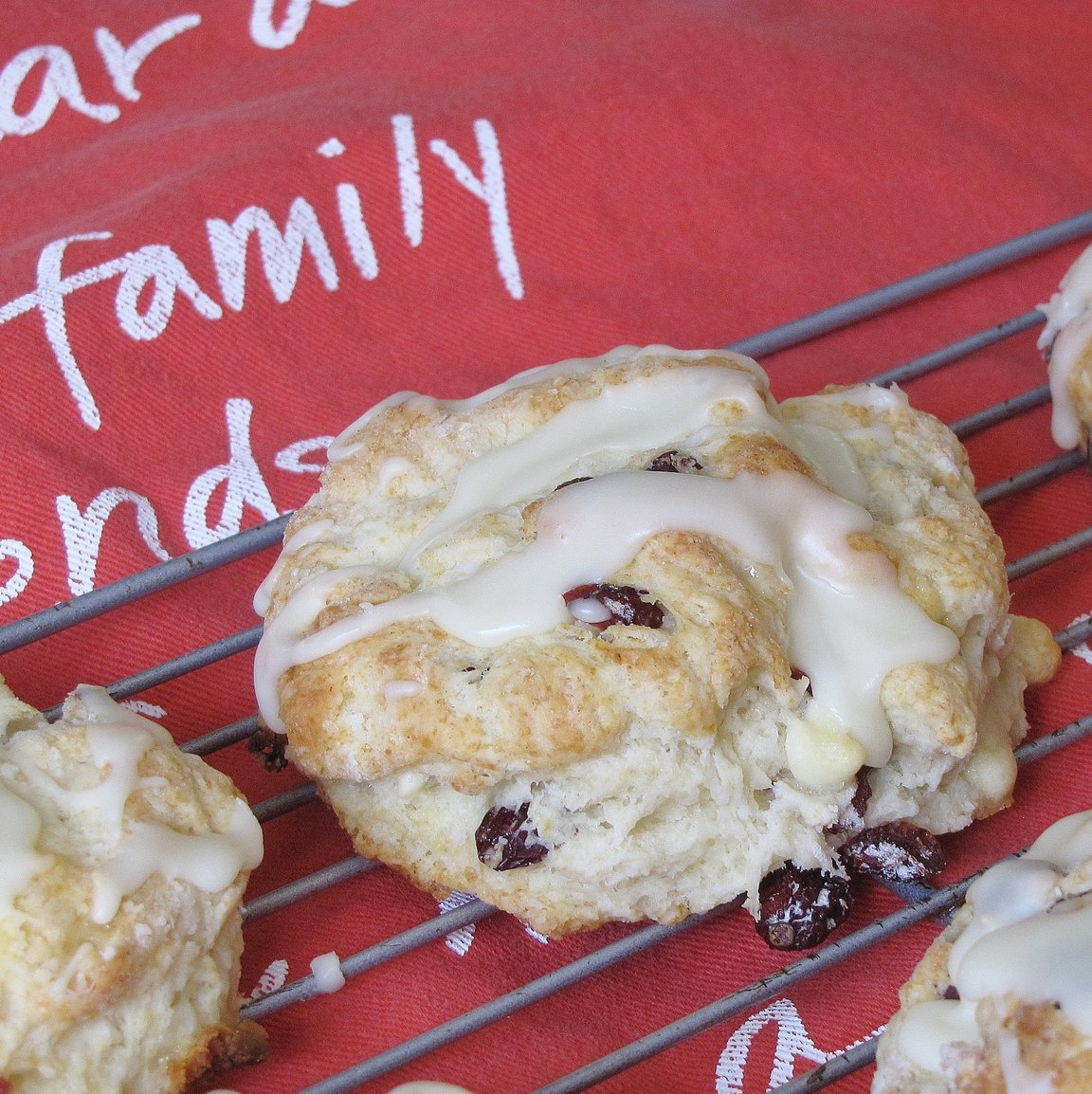 Best Ever Cranberry White Chocolate Scones with Orange Icing