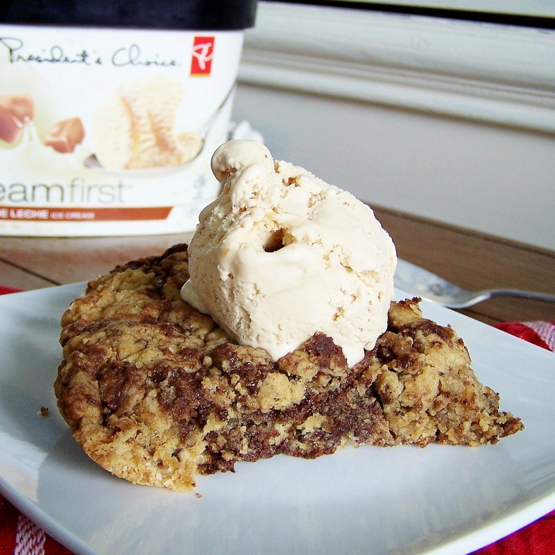 Peanut Butter & Chocolate Chunk Skillet Cookie - perfection in one pan.