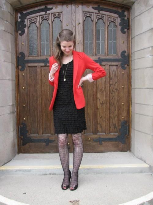 Red Blazer-Black Dress