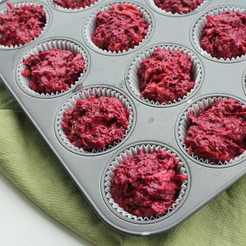 Beet & Carrot Muffins - pink batter!