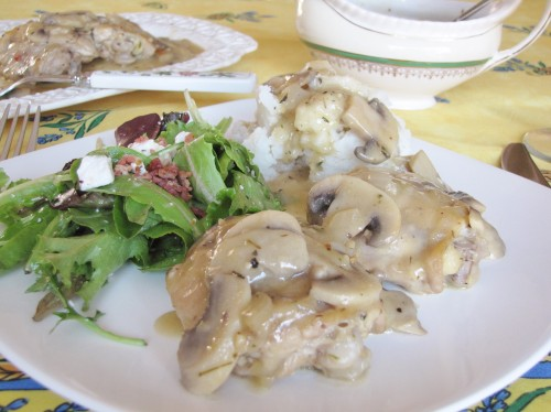 chicken with mushrooms and leeks