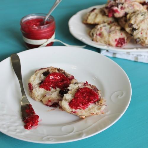 Chocolate Raspberry Scones with Homemade Raspberry Jam