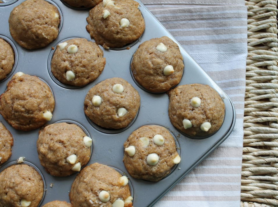 Mini Banana Muffins with White Chocolate Chips
