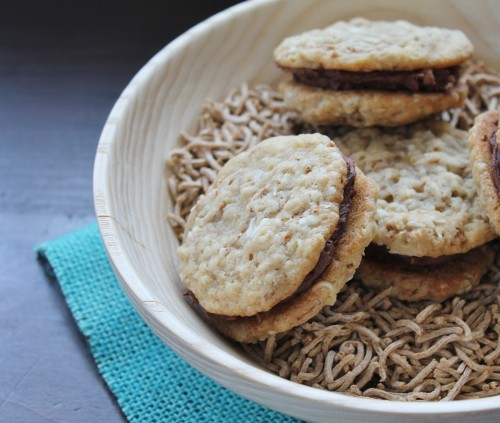 Oatmeal Sandwich Cookies with fudge filling