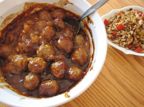 Hawaiian BBQ Meatballs with Rice