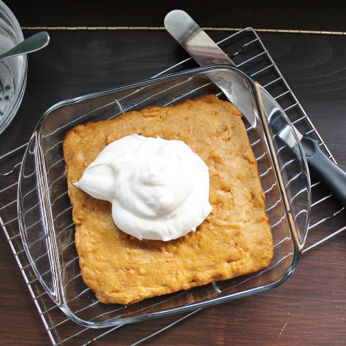 Pumpkin Carrot Cake with Cream Cheese Frosting | www.hiddenponies.com
