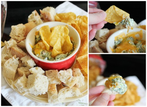 The BEST Cheesy Spinach Dip with Bacon | www.hiddenponies.com