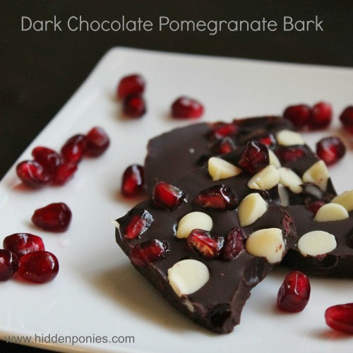 Dark Chocolate Pomegranate Bark - perfect no-bake holiday treat! | www.hiddenponies.com