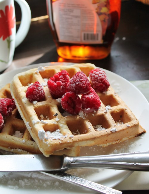 Whole Wheat Raspberry Waffles | www.hiddenponies.com