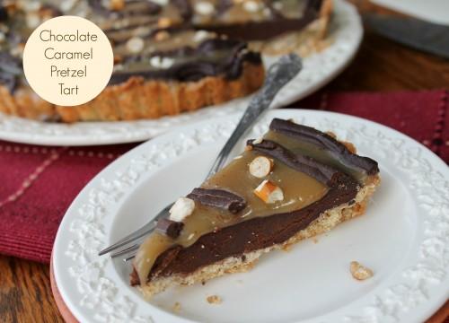 Chocolate Caramel Pretzel Tart {www.hiddenponies.com}