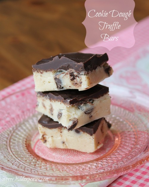 Cookie Dough Truffle Bars: No-Bake Eggless Cookie Dough topped with chocolate, the perfect way to satisfy any cookie dough craving!