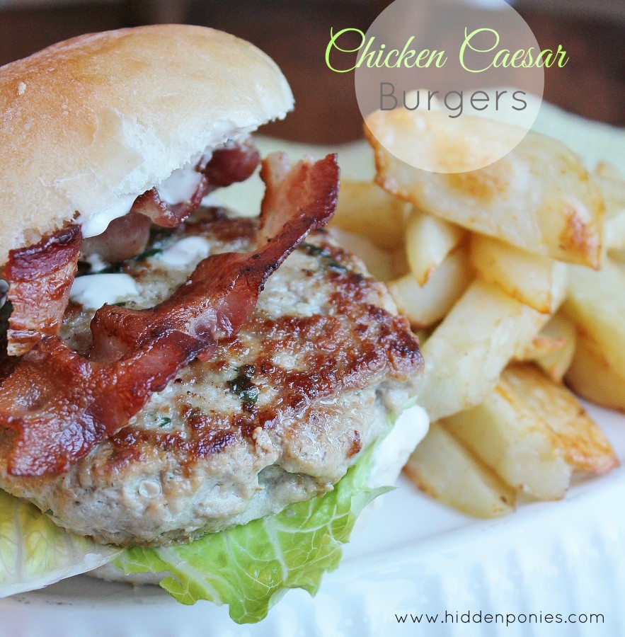 Chicken Caesar Burgers that you can cook indoors all year 'round!