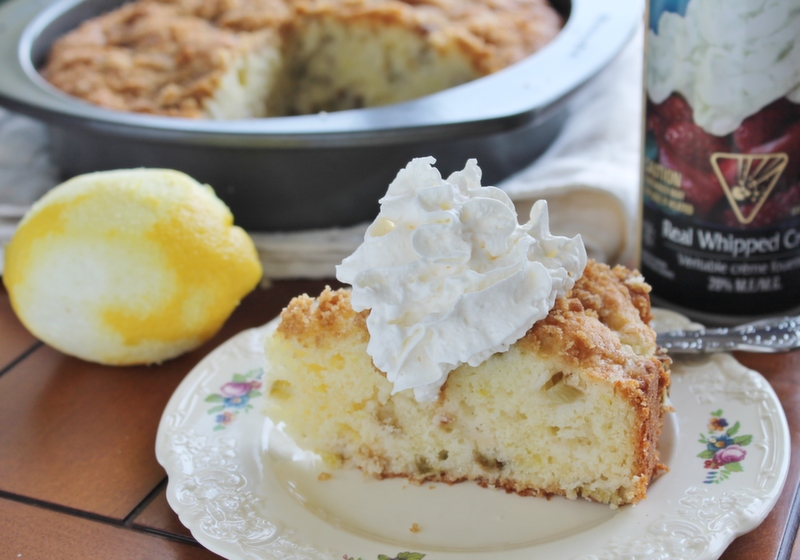 Lemon Rhubarb Buttermilk Coffee Cake | hiddenponies.com