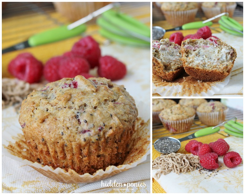 Raspberry Bran Muffins with Chia Seeds | hiddenponies.com
