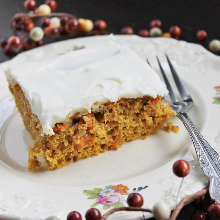 pumpkin carrot cake square