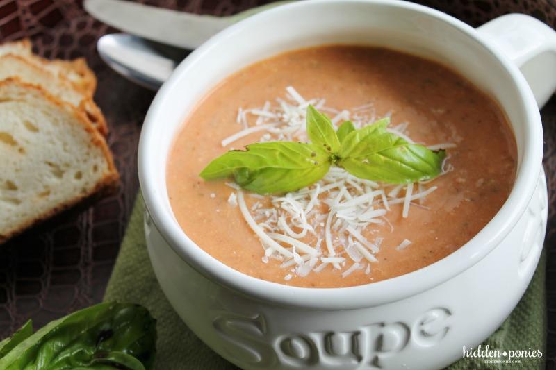 Slow Cooker Tomato Basil Parmesan Soup | hiddenponies.com