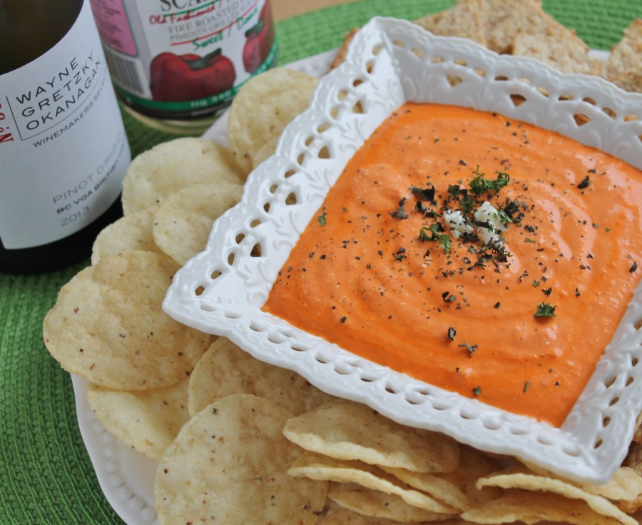 Roasted Red Pepper & Feta Dip - two ingredients, 5 minutes!