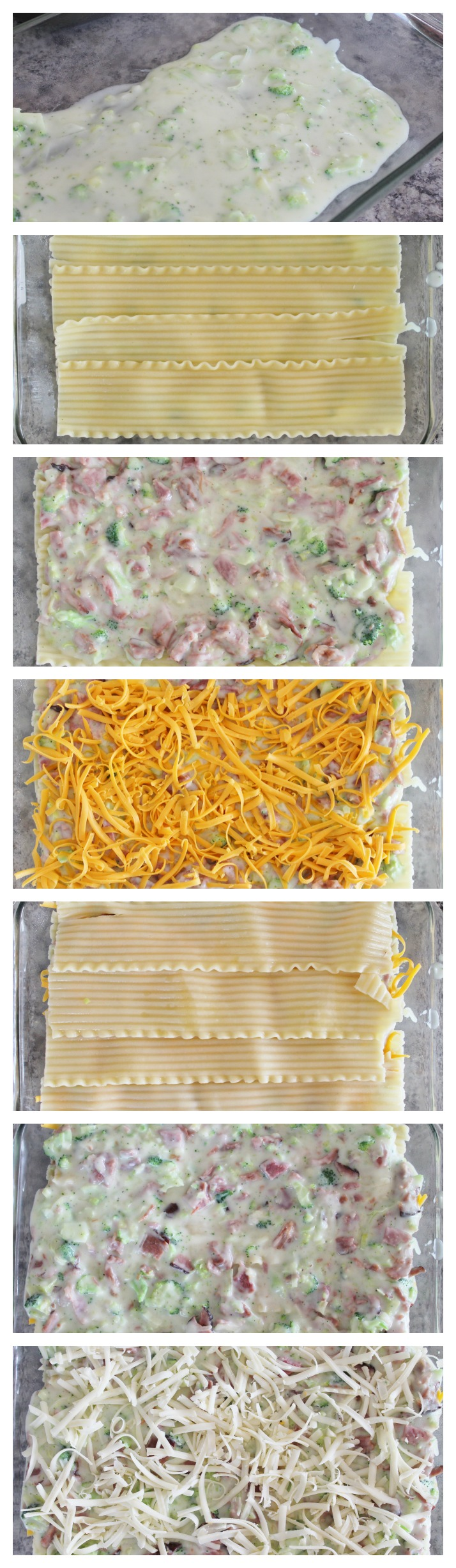 ham lasagna collage