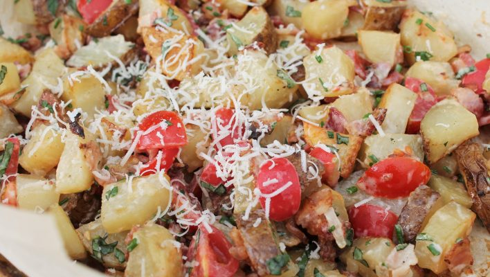 Warm Bacon Potato Salad with NO mayo or sour cream, great from the oven or barbecue!