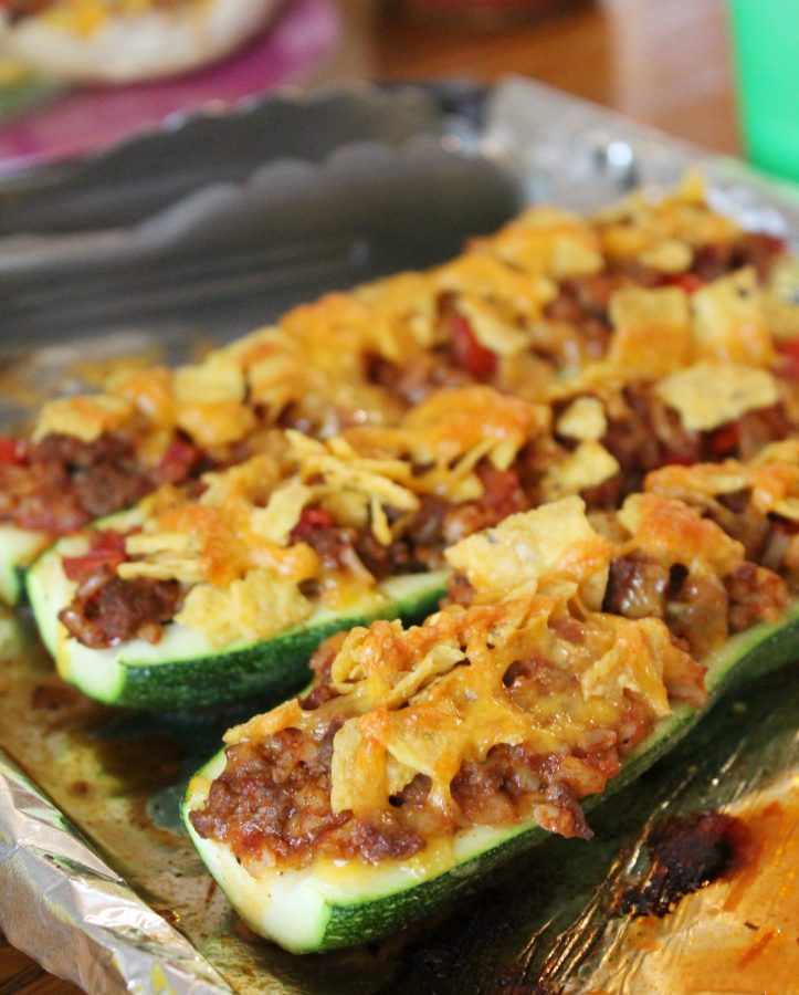 Taco Rice Stuffed Zucchini Boats