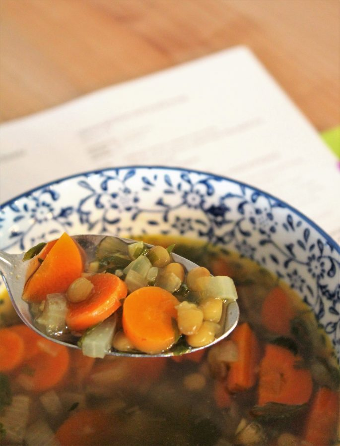 carrot green and lentil soup
