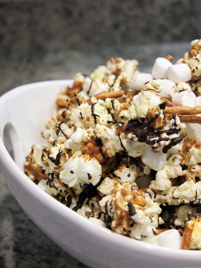 chocolate caramel popcorn with marshmallows and pretzels