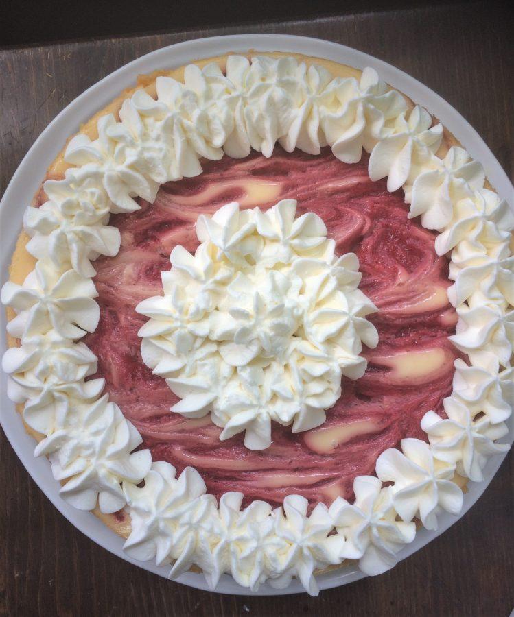 lemon cheesecake with strawberry swirl